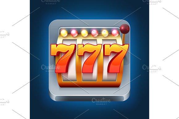Casino Vector Smartphone Game Icon With 777 Win Slot Machine