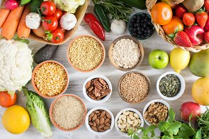 fruits and vegetables, nuts, cereals, ham