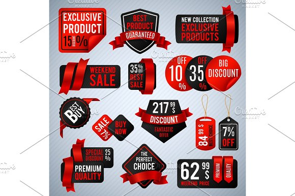 Price Tags Special Business Offer Labels And Discount Presentation Banners Vector Set