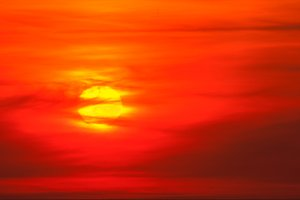 Hot sun in a red sky