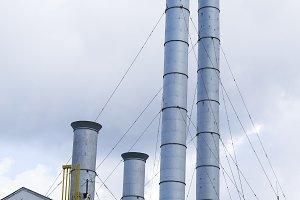 Vertical industrial chimneys background
