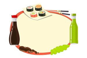 Traditional Japanese Cuisine. Asian Food Illustration