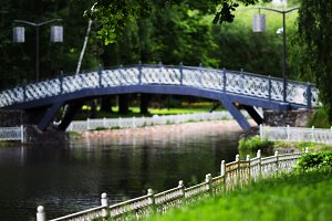Horizontal vivid park bridge landscape background backdrop