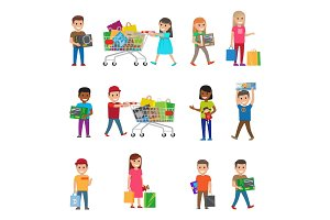 Smiling Children Doing Shopping Poster on White