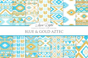 Blue & Gold Boho Seamless Patterns