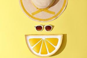 Fashion Sunny Summer Set. Hot Beach Vibes. Minimal
