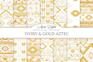 Ivory & Gold Boho Seamless Patterns