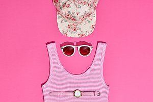 Fashion Sunny Summer Set. Hot Beach Vibes. Minimal