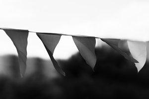 Horizontal black and white waving flags bokeh background backdro