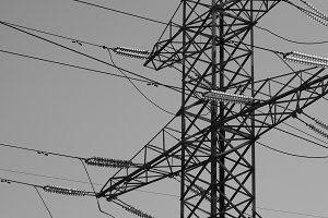 Horizontal black and white industrial power lines background bac
