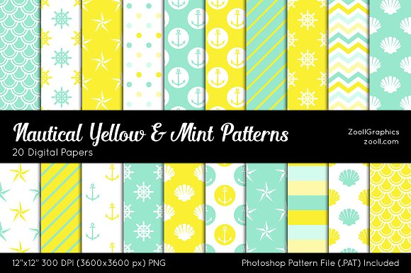 Nautical Yellow Mint Digital Papers