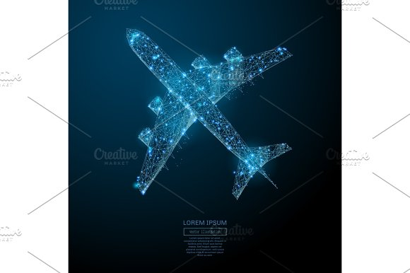 Airliner Top View Low Poly Blue