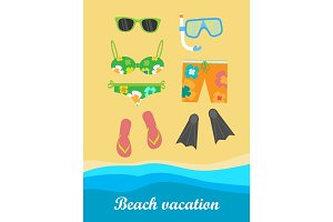 Beach Vacation Banner. Things Necessary for Rest.