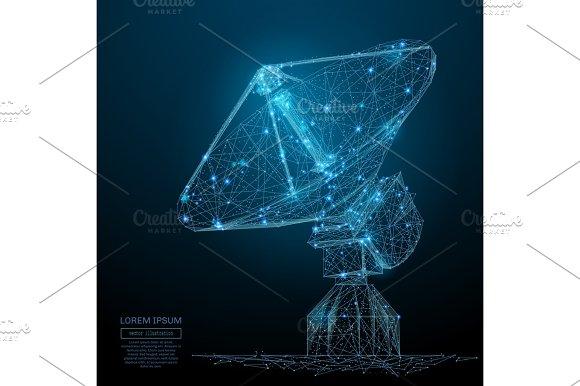 Radio Telescope Low Poly Blue