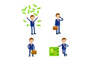 Cartoon Businessman Character. Illustrations Set