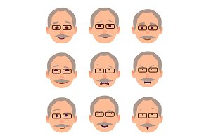 Old Male People Face Emotions Collection on White