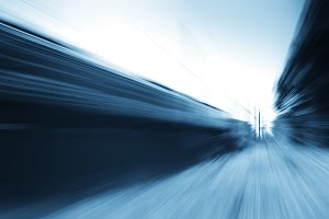 Diagonal blue train motion blur background
