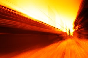 Diagonal orange train motion blur background