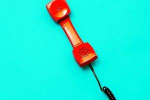 Retro Red Phone. Minimal art design
