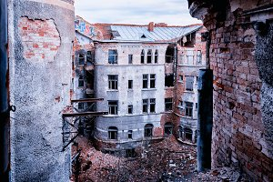 Cyberpunk abandoned old ruins