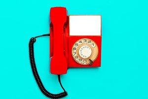 Vintage red telephone.