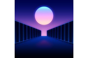 Retro futuristic digital landscape with moon and dark corridor
