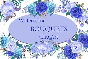 Blue Watercolor bouquets clip art
