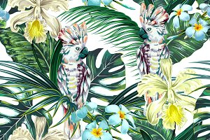Exotic leaves,flowers,parrot pattern