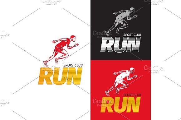 Running Sportsman On Different Background Sport Club