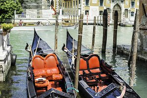 Ancient gondola in Venice