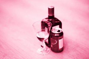 Horizontal cherry liqueur bokeh background