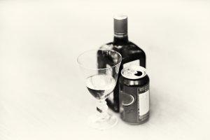 Horizontal black and white sepia liqueur bokeh background