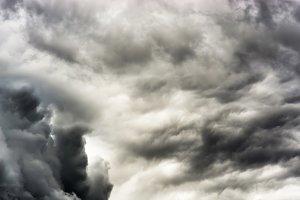 Horizontal dramatic dark cloudscape background