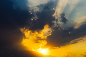 Dramatic sunset cloudscape background