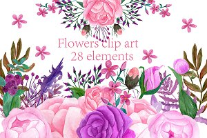 Watercolor flowers clip art