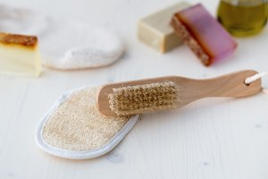 Body care tools and soap for a bath