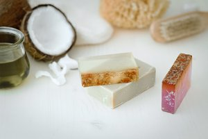 Soap bars made with herbs and oils