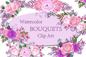 Pink Watercolor bouquets clip art