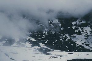 Cloudy Mountain Landscape in Winter