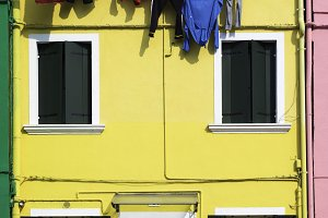 Bright yellow color house in Venice
