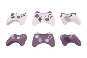 Gamepad set in black and white colors