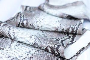 Genuine python snakeskin leather, snake skin, texture background.