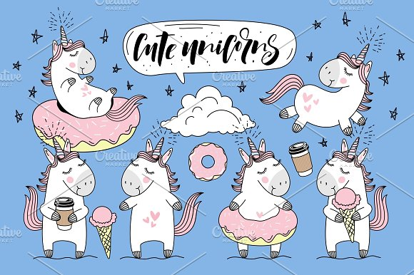 Cute Unicorns Collection Illustrations Creative Market