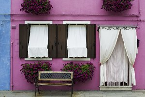 Bright pink color house in Venice