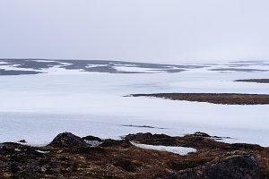 Minimal Winter Landscape with Snow