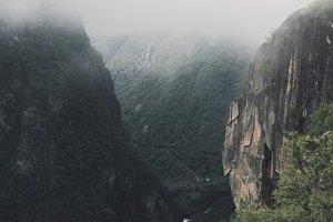 Foggy Canyon Landscape