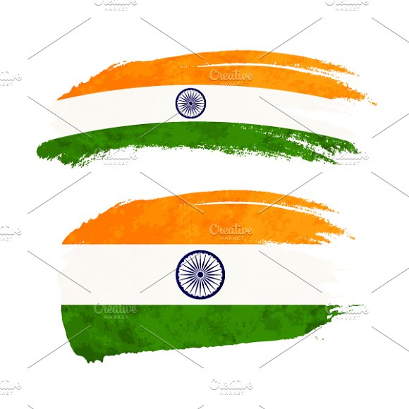 Brush Stroke With India Flag
