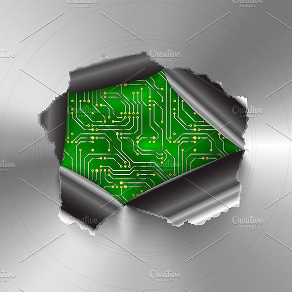 Hole in metal on green microchip