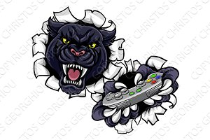 Black Panther Angry Gamer Mascot