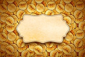 Golden coins with retro frame